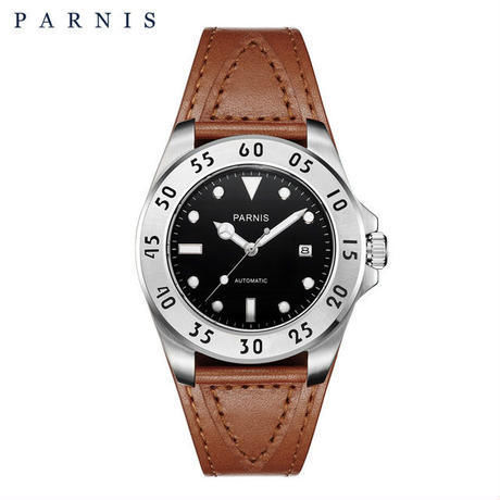 Parnis(パーニス ) メンズ 機械式腕時計 防水 カジュアルレザー/ブラック