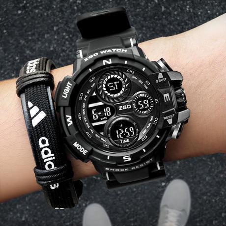 Zgo Ledデジタル腕時計メンズ 防水 スポーツ軍事 アナログ