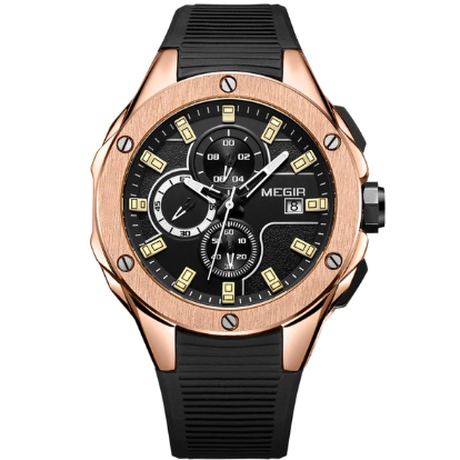 Megir men Sport Watch Chronograph Silicone Strap/ROSE GOLD