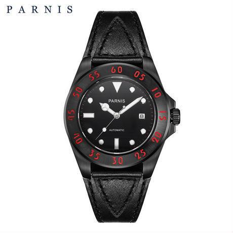 Parnis(パーニス ) メンズ 機械式腕時計 防水/ブラック×ブラック レッドナンバー
