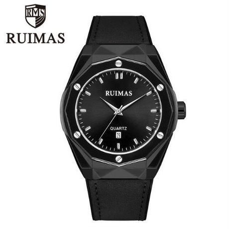 RUIMAS メンズ クォーツ腕時計 46mm レザーバンド ブラック/ブラウン