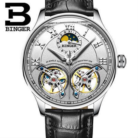 BINGER 腕時計 トゥールビヨン 機械式 防水 サファイアクリスタル 革 メンズ/シルバー
