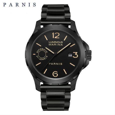 Parnis(パーニス ) 自動機械式時計 44mm サファイアクリスタル  ルミナスハンズ メンズ/ブラック