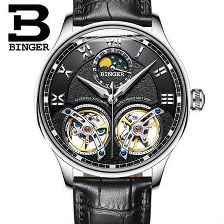 BINGER 腕時計 トゥールビヨン 機械式 防水 サファイアクリスタル 革 メンズ/ブラック