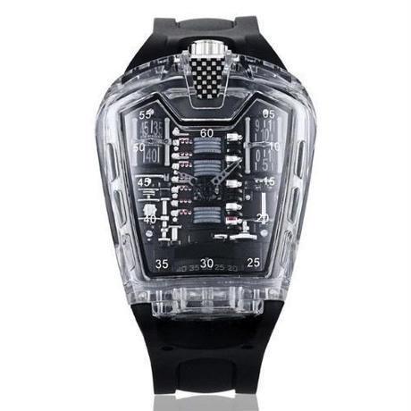 KIMSDUN メンズ クォーツ腕時計 シリコンストラップ K-725-4 ブラック