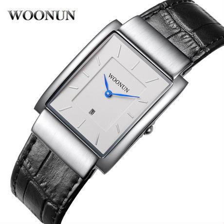 Woonun 男性腕時計 トップブランド 革ストラップ クォーツ長方形 スーパースリム腕時計