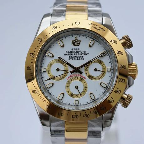 Steelbagelsport 機械式腕時計 クラシック 自動巻/シルバー×ゴールド