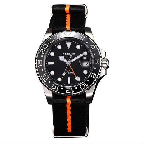 Parnis(パーニス ) 機械式腕時計 セラミックベゼル ナイロンストラップ GMT/オレンジ