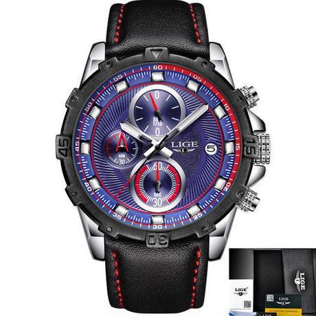 Lige 男性腕時計 スポーツ ファッションクォーツ時計 発光 防水時計 多機能