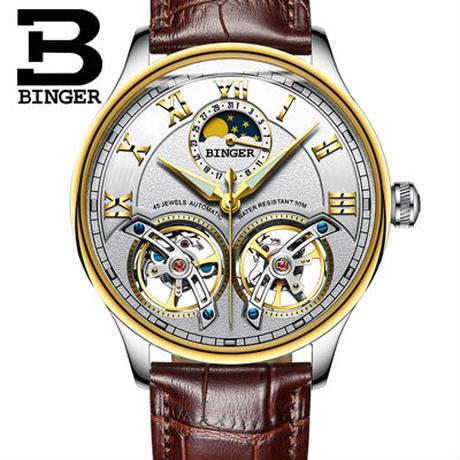 BINGER 腕時計 トゥールビヨン 機械式 防水 サファイアクリスタル 革 メンズ/ゴールド