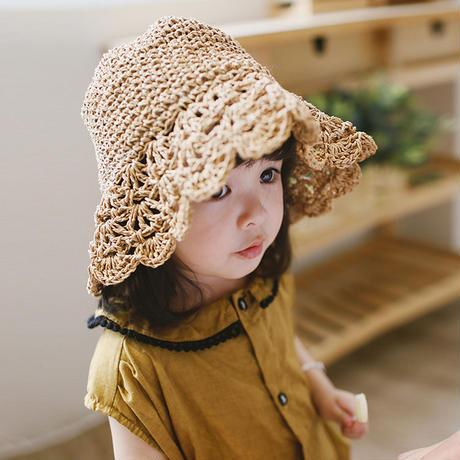 手編み  子供の麦わら帽子 かわいいの子供用帽子