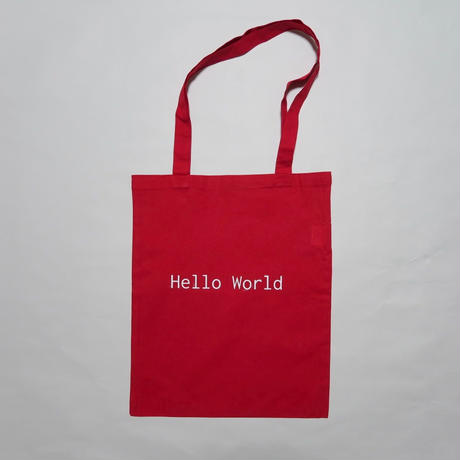 hello world logo Cotton Bag (red)