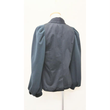 JK-3235 別布パフ袖ちびジャケット ブラック×黒緑(910B)