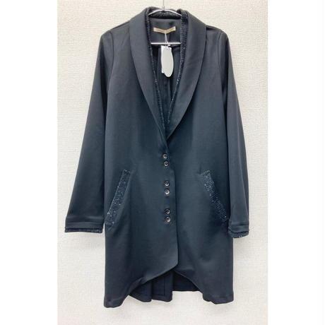 CT-2359 ニット衿付きロングジャケット 黒無地×黒ネップニット(910)