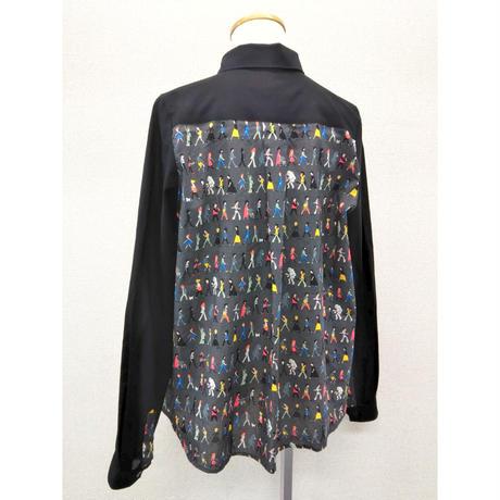 SH-3248 楽しい人々のシャツ チャコール柄×黒(511)
