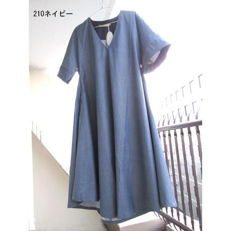Aラインワンピ/10cm長(ネイビーミニヘリンボーン)AOPlong-049c/#210