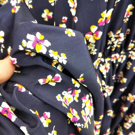 OP-3977 衿付きのセンターギャザーワンピース パープル小花(312)
