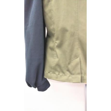 JK-3235 別布パフ袖ちびジャケット カーキ×黒緑(412B)