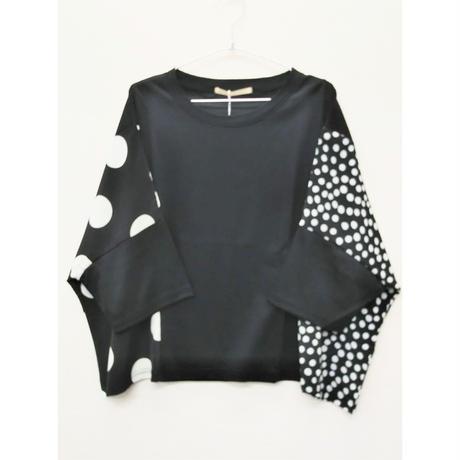 TSC-3647 大小水玉ワイドTシャツ ブラック(910)