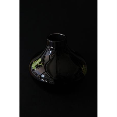 山崎葉 ガラス 雨蛙 花器