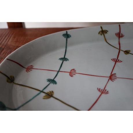 海野裕 九谷焼 楕円プレート 色絵水草