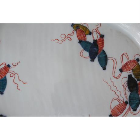 海野裕 九谷焼 楕円プレート 色絵糸巻き