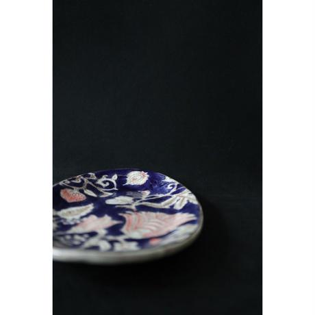 稲積佳谷 九谷焼 夢窓華 オーバル中皿   藍色