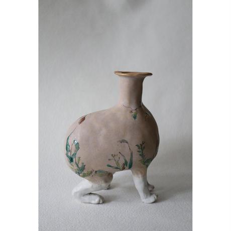 九谷焼 北井真衣 アニマルセラピー 壺 クリーム色