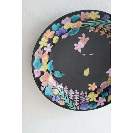 永井麻美子 九谷焼 百花手風 黒 19センチ皿