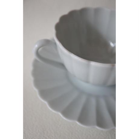 宮腰徳二 九谷焼 白菊 コーヒーカップ&ソーサー
