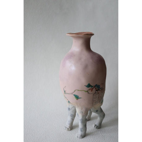 九谷焼 北井真衣 アニマルセラピー 壺 ピンク色