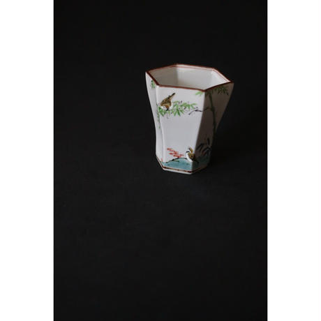 稲葉信一 竹雀 六角杯 緑