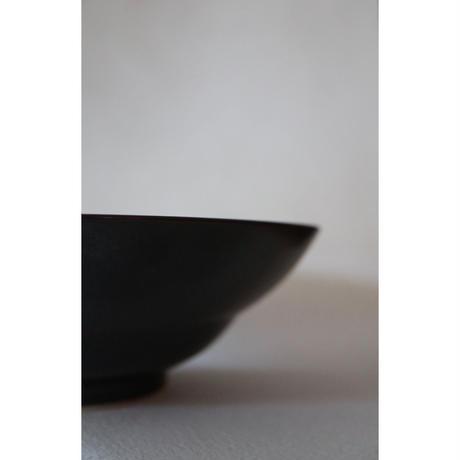 宮腰徳二 九谷焼 黒釉 丸中鉢