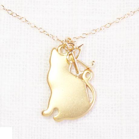 【アウトレット】猫ネックレス・イニシャル&ねこチャーム
