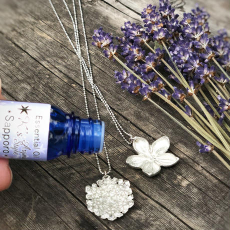 ~Lucky Lilac~Tin Aroma Style Pendant+Natural Stone(~ラッキーライラック~錫のアロマスタイルペンダント+天然石 )