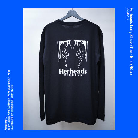 Herheads Long Sleeve Tee - Black/Blue (XL Size Only)