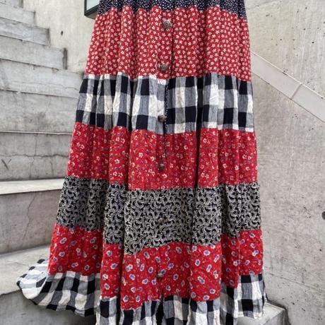 patchwork print long skirt  H0006