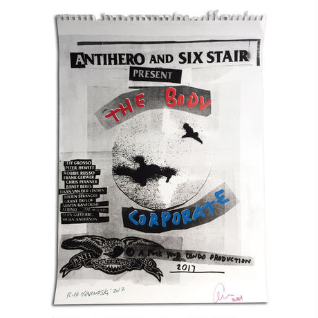 """ANTI HERO AND SIX STAIR """"THE BODY CORPORATE"""" LIMITED HAND SCREENED POSTER"""