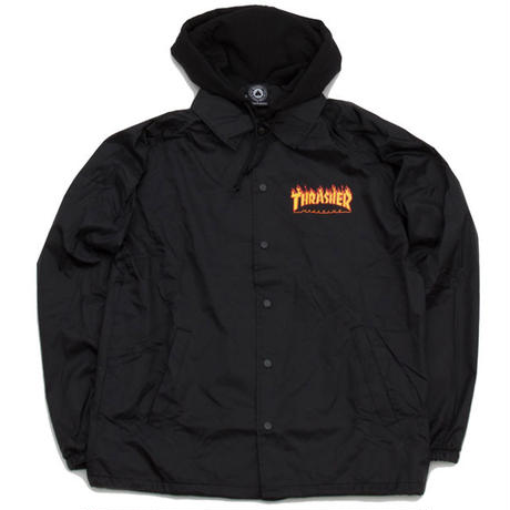 THRASHER  FLAME LOGO  HOODED COACH JACKET