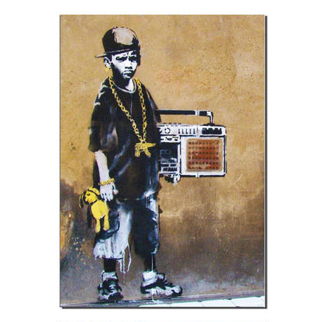 BANKSY B BOY WITH TEDDY GREETING CARD