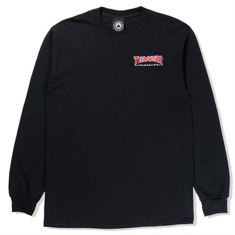 THRASHER EMBROIDERED OUTLINED L/S TEE