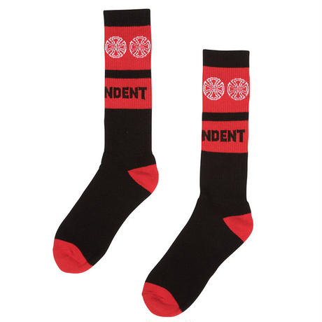 INDEPENDENT WOVEN CROSSES MID CREW SOCKS