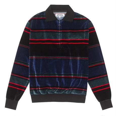 FUCKING AWESOME  BLOCK STRIPE VELOUR 1/4 ZIP SHIRT