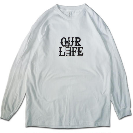 OUR LIFE STACKED BARREL L/S TEE