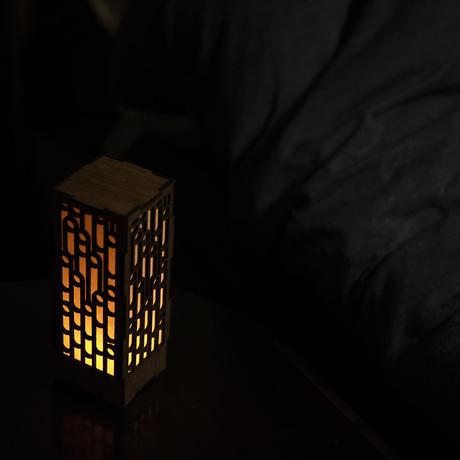 ミニ行灯 - 置き型照明 麻の葉模様