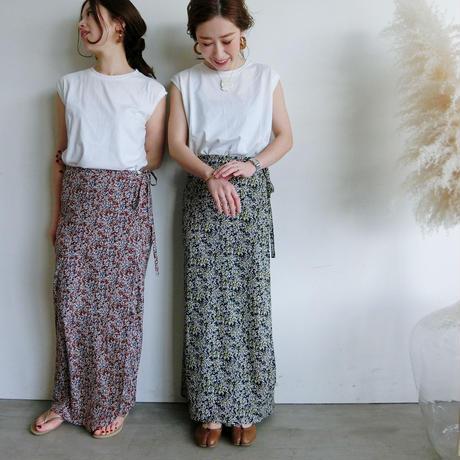 2019ss フラワープリントラップスカート(1週間前後での発送予定)