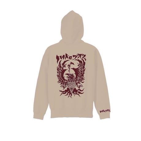 八咫烏 hoodie  Black/Beige