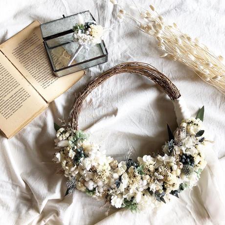 natural wedding wreath ナチュラル ウェディング リース (ブートニア付き)