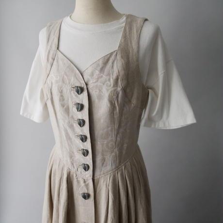 vintage linen Tyrolean sleevless dress