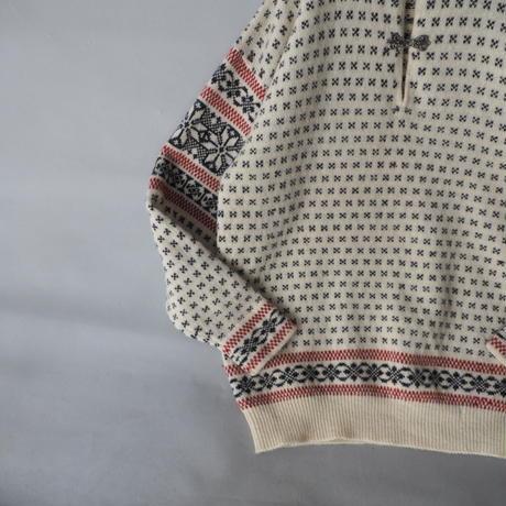 old 100% Shetland wool nordic knit sweater/unisex